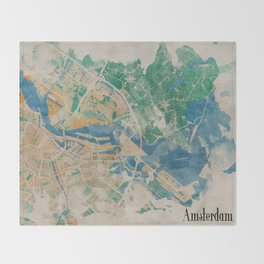 Amsterdam, the watercolor beauty Throw Blanket