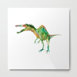 Spinosaurus dinosaur painting watercolour Metal Print