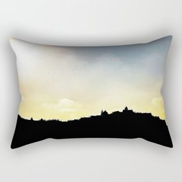 Panoramic shape of the medieval white village of Ostuni at sunset Rectangular Pillow
