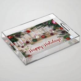 Happy holidays with spoons Acrylic Tray