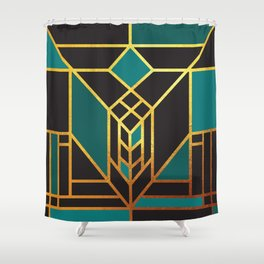 Art Deco Leaving A Puzzle In Turquoise Shower Curtain