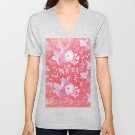 Patterned Silk Rose Unisex V-Neck