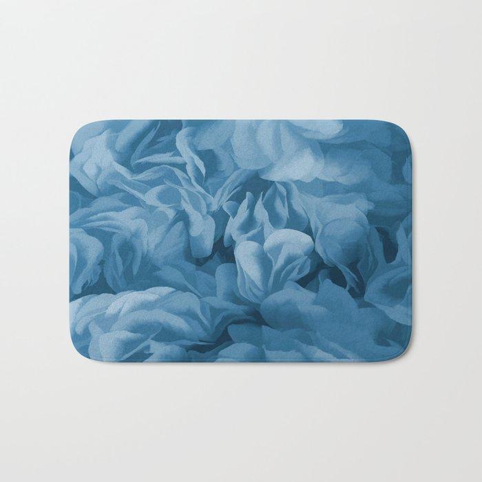 Midnight Blue Petal Ruffle Abstract Bath Mat
