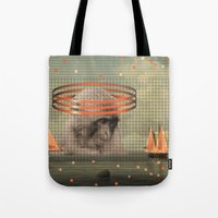 pixies Tote Bags featuring this monkey gone to heaven by Rosa Picnic