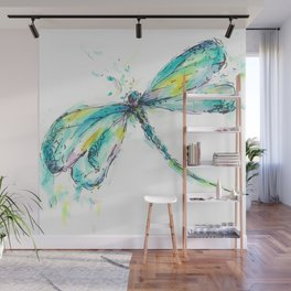 Watercolor Dragonfly Wall Mural