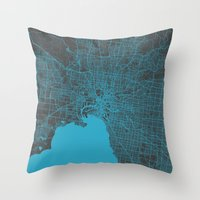 melbourne Throw Pillows featuring Melbourne map by Map Map Maps