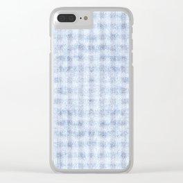 Pale Foam Blue Gingham Faux Suede Design Clear iPhone Case