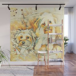 Penny and Copper Yorkie Mixes Wall Mural