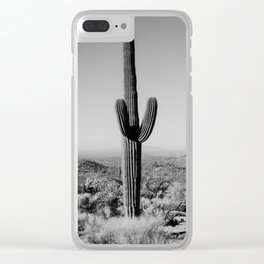 Black and white desert cactus photography poster Clear iPhone Case