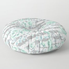 MINT FLORAL GRAY STRIPES SPRING Floor Pillow