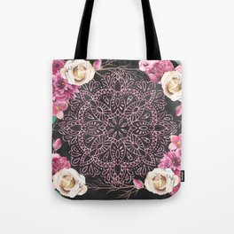 Mandala Night Rose Gold Garden Pink Black Yellow Tote Bag