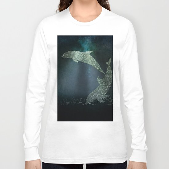 Playing glitter effect Dolphins- Dolphin Animal Sea Ocean #Society6 Long Sleeve T-shirt