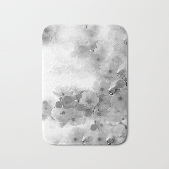 CHERRY BLOSSOMS GRAY AND WHITE Bath Mat