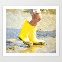 Fun In My Yellow Rain Boots Art Print