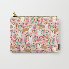 Corgi Florals - vintage corgi and florals gift gifts for dog lovers, corgi clothing, corgi decor, Carry-All Pouch
