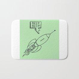 Rocket Ship Illustration Bath Mat