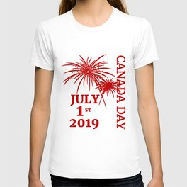 Canada Day 2019 with Fireworks Red T-shirt