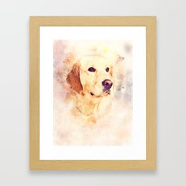 Golden Retriever Portrait, Dog Wall Digital Art, Home decor Framed Art Print
