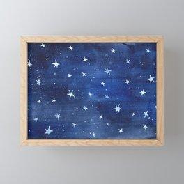 Midnight Stars Night Watercolor Painting by Robayre Framed Mini Art Print