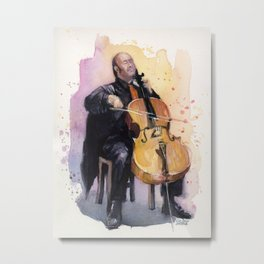Cello Music Watercolor Cellist Portrait Metal Print
