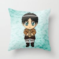 shingeki no kyojin Throw Pillows featuring Shingeki no Kyojin - Chibi Eren by Tenki Incorporated