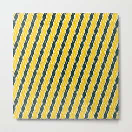 Green and Yellow Stripes Metal Print