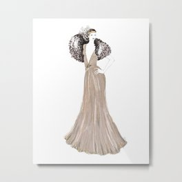 Fashion illustration 1920's dress in taupe Metal Print