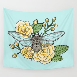 Cicada with Roses - Blue Wall Tapestry