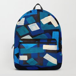 "Original Abstract Acrylic Painting by Ejaaz Haniff ""Blue Jazz"" Blue Geometric Colorful Pattern On Bl Backpack"