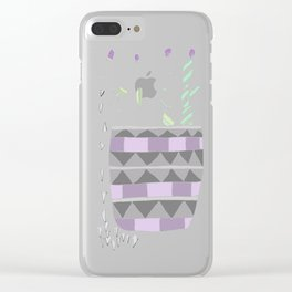 Potted Patterned Cacti Clear iPhone Case