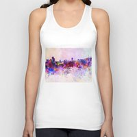 seoul Tank Tops featuring Seoul skyline in watercolor background by Paulrommer
