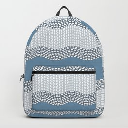 Wavy River VI in blue and grays Backpack