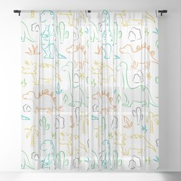 Colorful dinosaur pattern on white Sheer Curtain