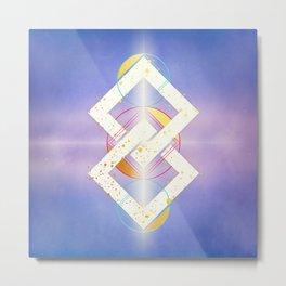 Linked Lilac Diamonds :: Floating Geometry Metal Print