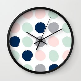 Trendy color palette minimal painted dots polka dot minimalist pink mint grey navy Wall Clock