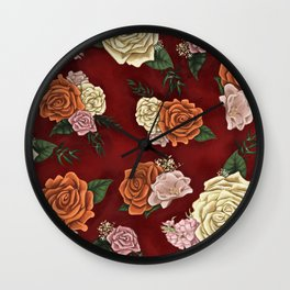 Red luxury flowers Wall Clock