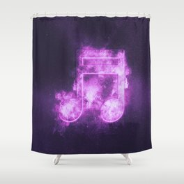 Sixteenth beamed music note symbol. Abstract night sky background Shower Curtain