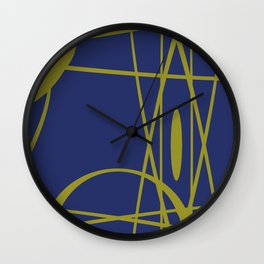 Vintage gold blue lines pattern Design Wall Clock