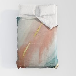 Celestial [3]: a minimal abstract mixed-media piece in Pink, Blue, and gold by Alyssa Hamilton Art Comforters