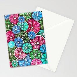 Citruses, Oranges, Lemons, Limes. Watercolor pattern Stationery Cards