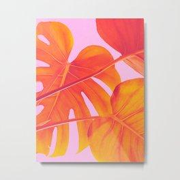 Monstera Quench - Pink & Orange Metal Print