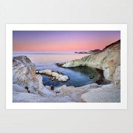 Higuera Cala. Cabo de Gata. At pink sunrise Art Print