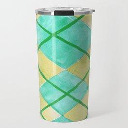 Hand Painted Classic Argyle Pattern Shades of Green Travel Mug