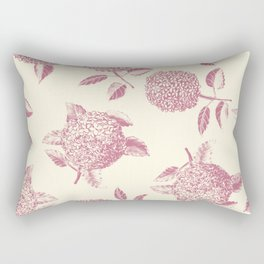 Big lush hydrangea flowers on off-white background seamless pattern. Pale pink. Atemporal, classic. Rectangular Pillow