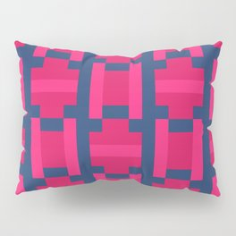 PUZZLE bright red and pink shapes on navy blue background Pillow Sham
