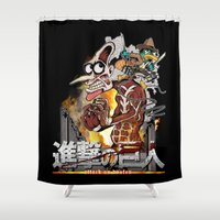 attack on titan Shower Curtains featuring Attack On Doofen by Mannart