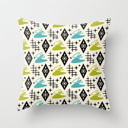 Mid Century Modern Boomerang Abstract Pattern Chartreuse and Turquoise 161 Throw Pillow