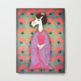 Unicorn Geisha Metal Print