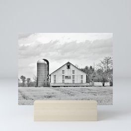 Barn and Silos BW Mini Art Print