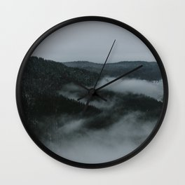Foggy Mountain Morning Wall Clock